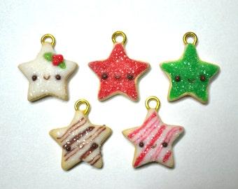 Christmas Sugar Cookie Star Charm - Kawaii Miniature Food Polymer Clay