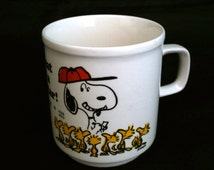 "Snoopy and Woodstock Ceramic Mug, ""It's Great To Be A Superstar"" Snoopy Cup, Childrens Mug, Snoopy Coffee Mug, Collectable Snoopy Mug"