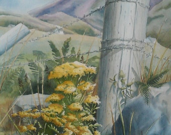 Yellow Flowers, Ring of Kerry, Ireland, Watercolor Painting, Landscape
