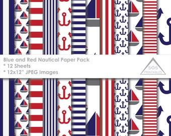 Blue and Red Nautical Digital Paper Pack, Nautical Paper, Boat Paper, Anchor Paper, Digital Scrapbooking, JPEG Paper, 12x12 digital paper