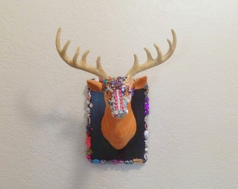 Jewelry Box Faux Taxidermy Deer Head Wall Mount Embellished with Crystals, Gems, and Jewels