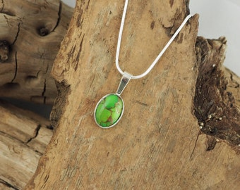 Sterling Silver Pendant - Green Copper Turquoise Pendant/Necklace -  Sterling Silver Setting with a 10mm x 14mm Green Copper Turquoise Stone