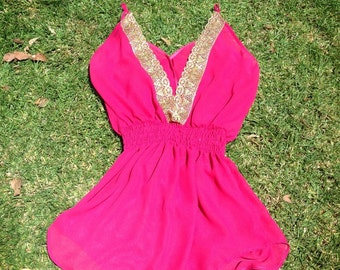 READY TO SHIP || Camille || V-neck Gold Trim (Back) Spaghetti Strap Swimsuit Cover-up || Fuchsia