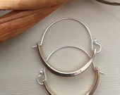 Modern Brass and Sterling Silver Hoop Earrings, Handforged Hoops, Minimalist Design, Lightweight for Everyday Wear