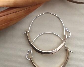 Modern Brass and Sterling Silver Hoop Earrings, Handforged Hoops, Minimalist Design, Lightweight for Everyday Wear