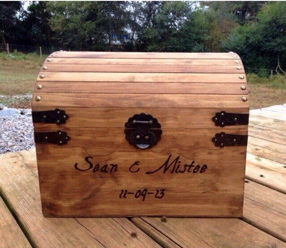 Large Engraved Rustic Wooden Card Box - Rustic Wedding Card Box - Shabby Chic Wedding Card Box - Wedding Card Holder - Treasure Chest