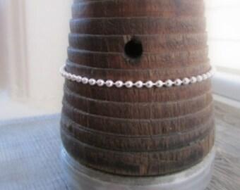 Sterling Silver Ball Chain Bracelet, 7 Inch Chain, 3mm Chain, Bead Chain Bracelet, Italian 925 Silver Chain, Silver Bead Bracelet