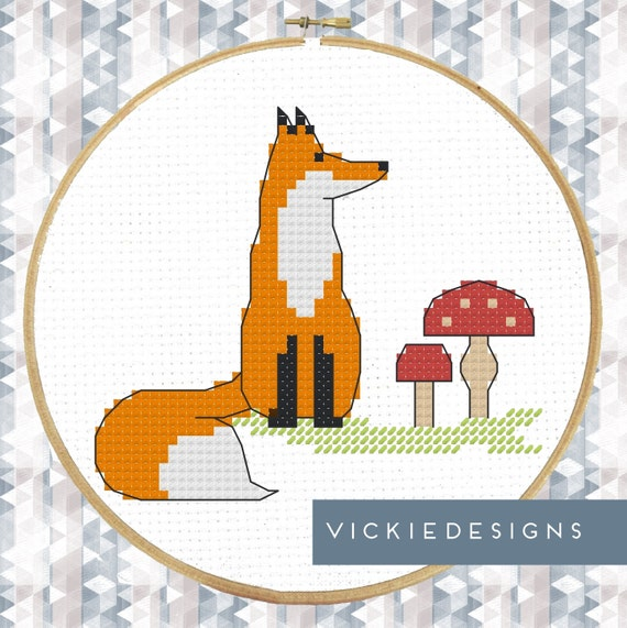 Fox Toadstools Modern Cross Stitch Pattern PDF