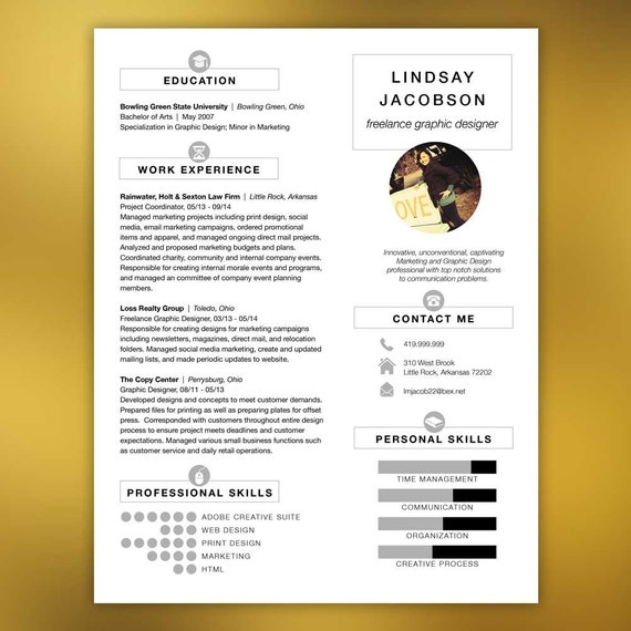 Designer Resume Template - Free Cover Letter and References - Instant Download - Infographic Elements JACOBSON