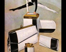 1962 Amity Leather Ad - Domino - Color - Black and White - Splits - Wall Art - Bed & Bath Decor - Retro Vintage Advertising