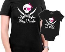 Matching Pirate Mother/Daughter t-shirt  - Jolly Roger Skull & Swords
