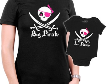 Matching Pirate Mother/Daughter t-shirt  - Jolly Roger Skull & Swords