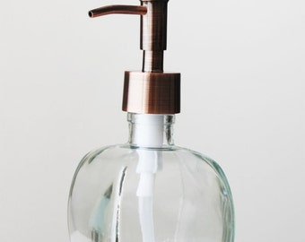 Geometric Recycled Glass Soap Dispenser - Clear