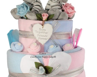 Extra Large Two Tier Twin Baby Nappy Cake baby shower Gift Hamper
