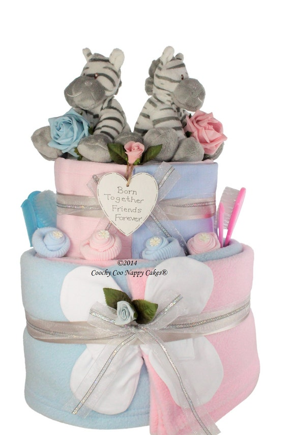 Baby Gift Sets For Twins : Extra large two tier twin baby nappy cake shower gift