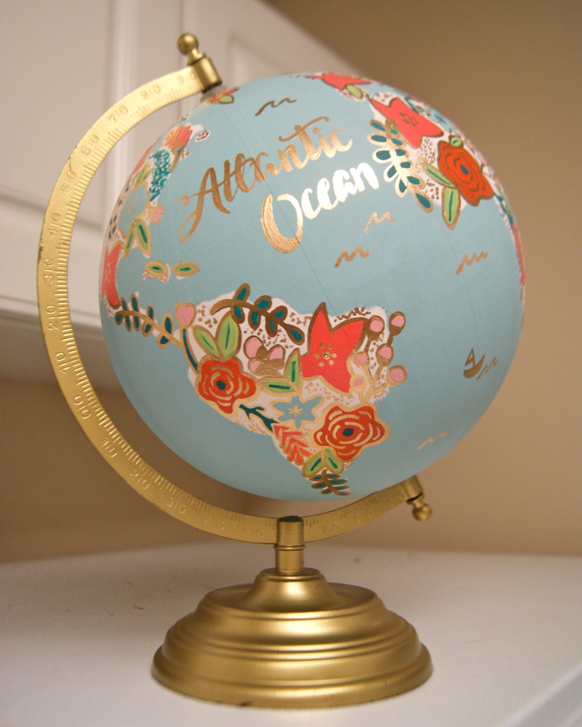 handmade globes custom 12 world globe painted flowers gold stand 9671