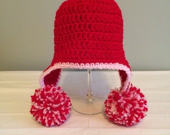 Crochet Baby Hat, Pom Pom Hat, Valentine's Day Hat, Red Knit Beanie, 3 month size, Baby Shower Gift, Ready to Ship, Photo Prop