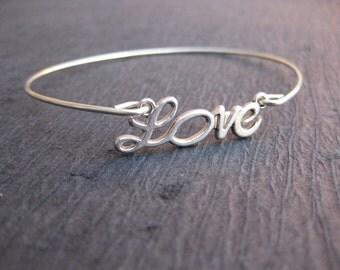 Silver Love Bangle Bracelet, Silver Bridesmaid Jewelry, Bridesmaid Bracelet, Cursive, Love Script, Silver Love Jewelry