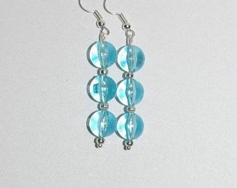 Handmade Pierced Earrings Sky Blue Beads - MB267-S