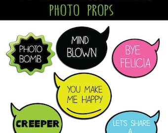 Neon Humor Photo Booth 20 Props Instant Download Printable Sign Photo Booth Prop Set sale