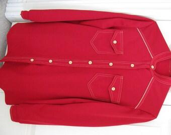Vintage Red Pant Suit 2 piece Leisure Suit Style Small - Medium size - Petite (See measurements) Clearance Sale Bargain Blowout