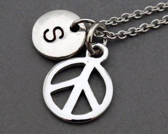 Peace sign necklace, peace symbol necklace, silver peace sign, initial necklace, hand stamped, personalized, antique silver, monogram