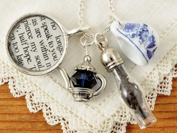Jane Austen Persuasion Literary Tea Necklace By