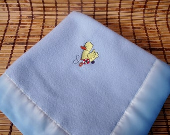Blue Fleece Baby Blanket, Security Blanket, Small Baby Blanket, Embroidered Baby Blanket, Shower Baby Gift, Baby Boy