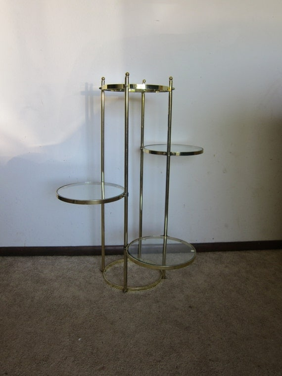 Mid Century Modern Brass Metal Plant Stand 4 Tier Display Or