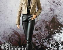 Tan leather biker jacket for Fashion Royalty FR2 with full satin lining and functional tiny zippers.