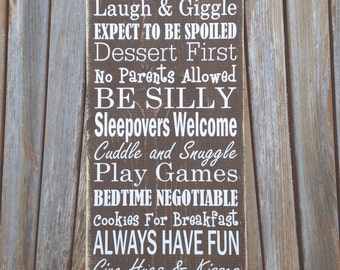 """Mother's Day Gift - Large Grandma's House Rules Sign - 9.25""""x24"""" - Great Gift For Grandma! - Mother's Day is May 8th!"""