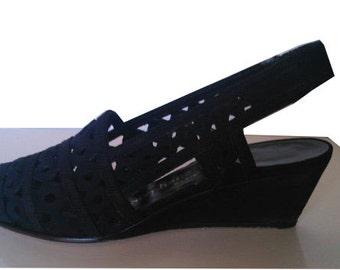 STEPHANE KELIAN Vintage black wedges heels shoes 1980 does 1940