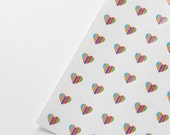 40 Heart Stickers, Round, Clear or White