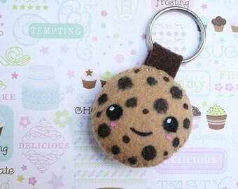 Chocolate Chip Cookie Keychain, Felt Keychain, Biscut, Foodie Gear, Kawaii Keychain