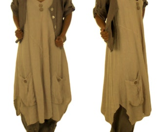 HE600BG42 ladies dress tunic of linen layered look beige vintage size 42 used look summer dress without sleeve A-line asymmetrical