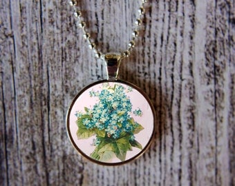 Violets Necklace, February Birth Month Necklace, Violets Jewelry, February Flower of the Month, Birthday Necklace,  February Birthday