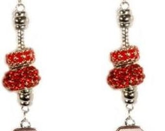 North Carolina State University (NCSU) Bling Red Dangle Earrings with NCSU Logo