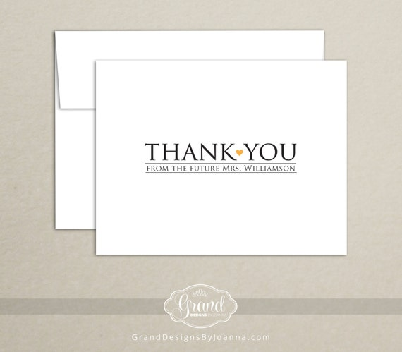 Personalized Bridal Shower Thank You Cards - Thank You from the Future Mrs. (Set of 10)