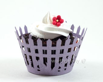 LAVENDER Picket Fence Filigree Shimmer - Elegant Laser Cut Lace Wedding Cupcake / Muffin  Wrappers - (set of 12)