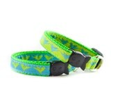 Hummingbirds Cat Collar - Green Turquoise and Lime Adjustable Safety Buckle Cat Collar