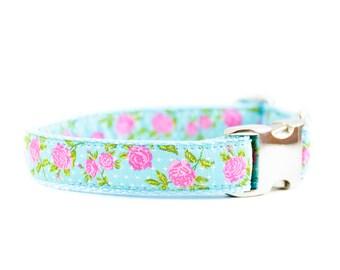 Aqua Floral Dog Collar - Pink Turquoise Rose Flower Girl Dog Collar
