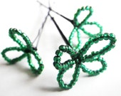 Lucky Clover Patch- Set of 3- Four (4) Leaf Clover- Shamrock- Luck- St. Patrick's Day- Boston- Beaded Bobby Pin- Costume- Hair Accessories