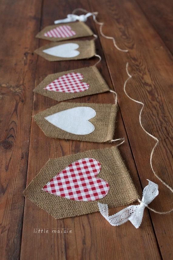 Burlap Amp Lace Heart Banner Rustic Country Wedding Decor Red