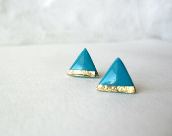 Turquoise gold triangle post earrings- Turquoise gold studs- Elegant jewelry