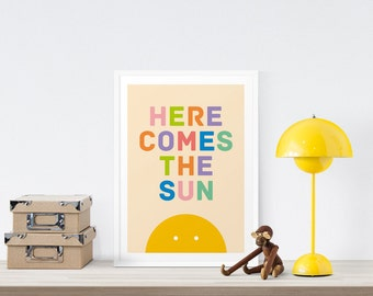 Baby Art Print, Here Comes The Sun, Nursery Wall Art, Baby Room, Sun Print, Sunshine, Nursery Decor