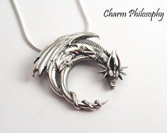 Dragon Necklace - 925 Sterling Silver Fantasy Jewelry - Snake, Anchor, Rope or Curb Chain