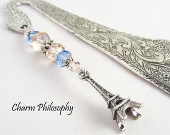 Paris Eiffel Tower Bookmark - Tibetan Silver Beaded Metal Bookmark