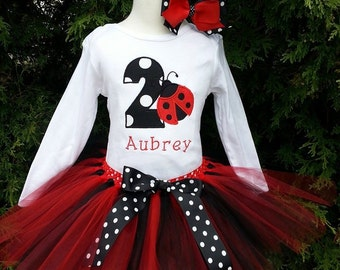 Girls 1st or 2nd birthday Ladybug Tutu Outfit/ garden first birthday/ hot pink, red, black  Birthday/ baby girl's shirt/ personalized