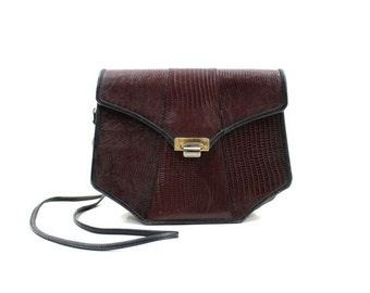 vintage 80s burgundy and black bag / reptile embossed leather purse