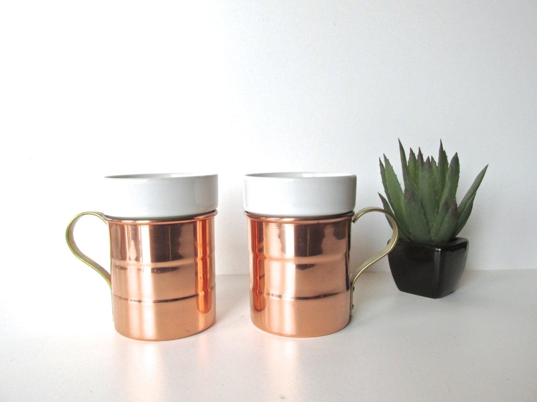 Vintage Copper Mugs Ceramic Inserts Baker Heart Amp Stuart